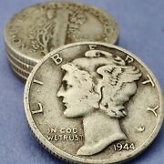 [lot Of 5] Unsearched Mercury Dimes 90 Silver