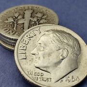 [lot Of 5] Roosevelt Dimes 1946-1964 90 Silver