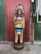 John Gallagher Carved Wooden Cigar Store Indian 5 Ft.tall Statue White Buffalo
