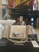 Authentic New Cream White Classic Flag Bag, Come With Dust Bag