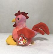 """Ty Beanie Babies """"strut"""" The Rooster W/ Tag Extremely Rare"""