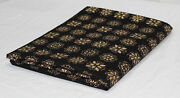 Black Gold Block Printed Fabric Sewing Craft Floral Mask Making Fabric Dsn Du1