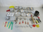 Vintage Lot Of 37 Child's Toy Metal Pots Pans Utensills And Misc.