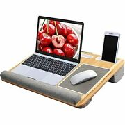 Lap Desk - Fits Up To 17 Inches Laptop Desk, Built In Mouse Pad And Wrist Pad For