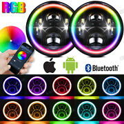 Pair 7and039and039 Led Headlights Halo Rgb Lamp Combo Kit For Jeep Wrangler Jk 2007-2018