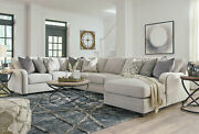 New 5pcs Sectional Living Room Furniture - Light Gray Fabric Sofa Couch Set Ig0n