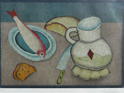 Mihail Chemiakin – Lithograph S/n - Still Life With Fish, Bread And Knife