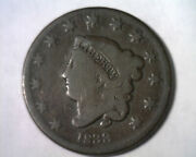 1833 Coronet Type Large Cent Penny Very Good Vg N.1 Rarity 2 Nice Coin Bobs Coin