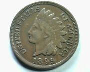 1899 S4 1/1s 9/9n Indian Cent Penny About Uncirculated Au Nice Original Coin