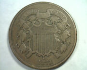 1871 Two Cent Piece Kf-3-tpd Fine / Very Fine F/vf Nice Original Coin Bobs Coins
