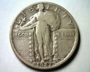 1927-s Standing Liberty Quarter Very Fine Vf Nice Original Coin From Bobs Coins