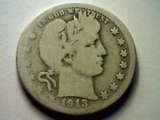 1913-s Barber Quarter Dollar Good G Nice Original Coin Key Date From Boband039s Coins