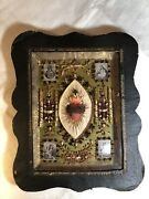 Large 19th C Antique French Reliquary W/ Relics Of Four Saints France Religion
