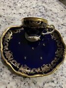 Weimar Katherina Pattern 6 Cups And Cooke Plate Set Cobalt/gold. Hard To Find.new