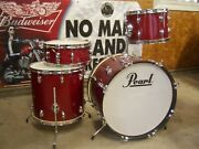 Vintage 1968 Pearl Sparkling Red Thunder King 4 Pc. Drum Set 221613 And 14 Japan
