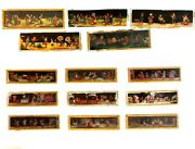 Lot Of 11 Antique Magic Lantern Glass Colored Slide Musicians And Dancers