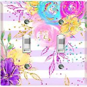 Metal Light Switch Cover Wall Plate Flowers Colorful Pastel Pink Stripes Flw006