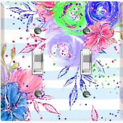 Metal Light Switch Cover Wall Plate Flowers Colorful Pastel Teal Stripes Flw007