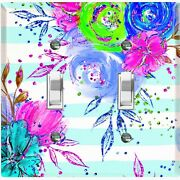 Metal Light Switch Cover Wall Plate Flowers Colorful Pastel Teal Stripes Flw008