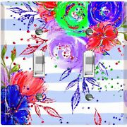 Metal Light Switch Cover Wall Plate Flowers Colorful Pastel Blue Stripes Flw009