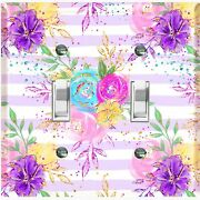 Metal Light Switch Cover Wall Plate Flowers Colorful Pastel Pink Stripes Flw010