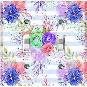 Metal Light Switch Cover Wall Plate Flowers Colorful Pastel Blue Stripes Flw011