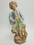 Vintage Meissen Porcelain Figurine Man Standing Dog 18 Tall French Dress Style