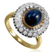 14k Yellow Rose And White Gold Genuine Cabochon Sapphire And Diamond Russian Ring