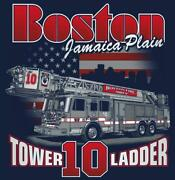 Boston Fire Dept. Tower Ladder 10 White/red Jamaica Plain Fire Tee