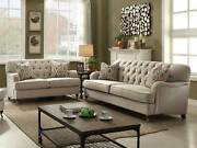 Traditional Design Living Room Beige Fabric Large Sofa Couch And Loveseat Set Igar