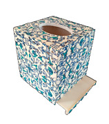 Handmade Beautiful Decoupage Wood Tissue Box Cover With Bottom Blue Tones Gold A