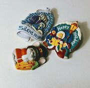 Set Of 3 Christmas And Holiday Pin Brooches, Thanksgiving Mouse, Nativity