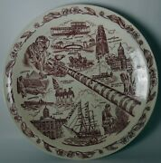 Vernon Kilns Display Plate Connecticut State Plate - 10-1/2 - Red 019