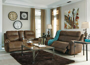 New Living Room Brown Faux Leather Reclining Sofa Couch Set W. Power Option If0o