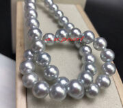Aaaaa 1715-13mm Natural Real Round South Sea Silver Gray Pearl Necklace 14k