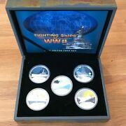 2007 1 Tuvalu Silver Proof Coin - Fighting Ships Of Ww Ii - 5 Coins Set