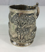 Fine George Ii Solid Silver Newcastle Embossed Pheasants And Dog Tankard 11cm High