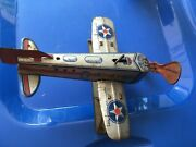 Antique Tin Wind Up Airplane - Works
