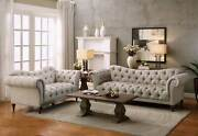 Traditional Design Living Room Taupe Microfiber Fabric Sofa Couch Loveseat Ig5c