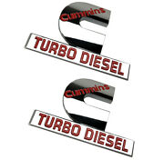 2x Small Size Genuine Cummins Turbo Diesel Emblems Output Decal Badges Red
