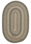 Boston Common Driftwood Teal Wool Blend Oval Round Country Farmhouse Braided Rug