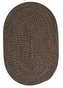 Hayward Heathered Bark Wool Blend Country Farmhouse Oval Round Braided Rug
