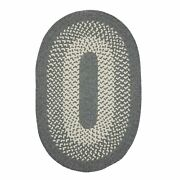 Jackson Gray Ivory Bordered Wool Blend Country Farmhouse Oval Round Braided Rug