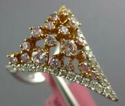 Large 1.22ct White And Pink Diamond 18kt White And Rose Gold V Shape Crown Fun Ring