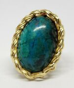 18k Yellow Gold Large Solitaire Eilat Stone Unique Weave Ring Elias Made In Peru