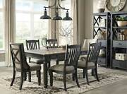 Rustic Cottage Black And Brown 7 Piece Dining Room Rectangular Table Chair Set C0o
