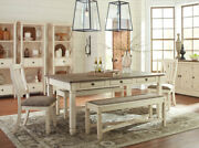 New Farmhouse Cottage Dining Room 5 Piece Rectangular Table Bench Chairs Set C1g