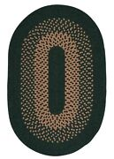 Madison Alpine Green Khaki Bordered Wool Blend Country Cabin Oval Braided Rug