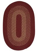 Madison Holly Berry Khaki Bordered Wool Blend Country Cabin Oval Braided Rug