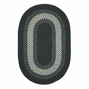 North Ridge Charcoal Bordered Wool Blend Country Farmhouse Oval Braided Rug